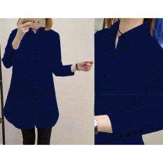 Shoppaholic Shop Kemeja Wanita Tunik Wanita Aqua Button - Navy / Baju Wanita / Blouse Korea