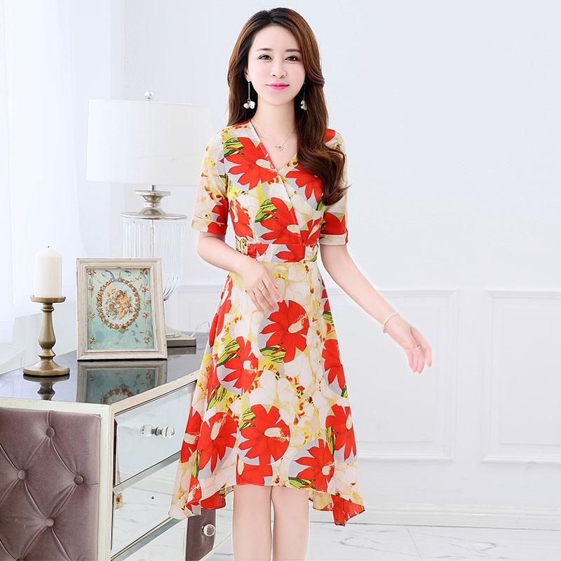 SIFON BUNGA GAUN BIRU TUA. Versi Korea dari bagian panjang tipis lengan kelima gaun a