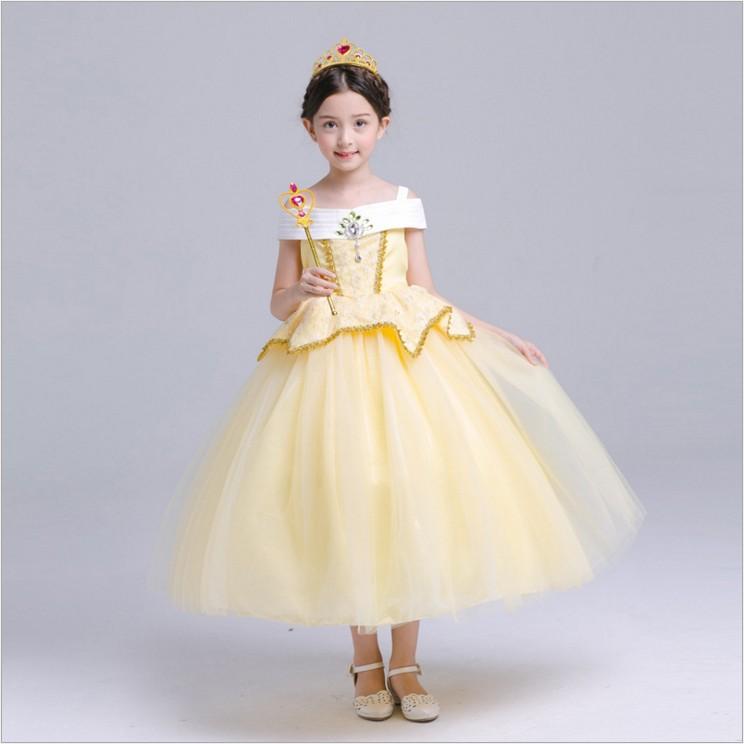 Sleeping Beauty Halloween kostum ulang tahun gadis gaun (Kuning)