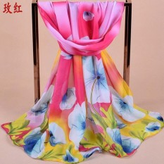 Soft Chiffon Floral Pattern Silk Scarf Shawl Cashmere Hijab Pashima Bandana 160 50cm Flowers Floral Fashion Ladies Scarves Chiffon Scarf Womens Shawls X312 - intl