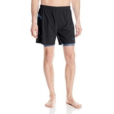 Speedo Mens Hydrosprinter with Compression Swimsuit Shorts Workout & Swim Trunks, Black/Gray, Large - intl