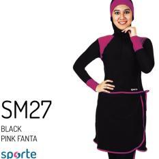 SPORTE Baju Renang Muslim Slimfit SM 27 Hitam Pink