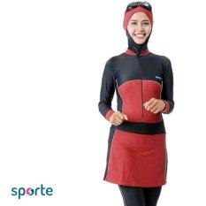 SPORTE Baju Renang Muslim Slimfit SM 57 Hitam Maroon