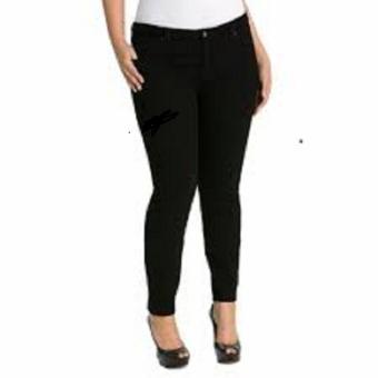Sumber Rejeki Jeans - Glows - Celana Jeans Wanita Jumbo Size 37-42 - Warna Hitam - Bahan Soft Jeans Stretch
