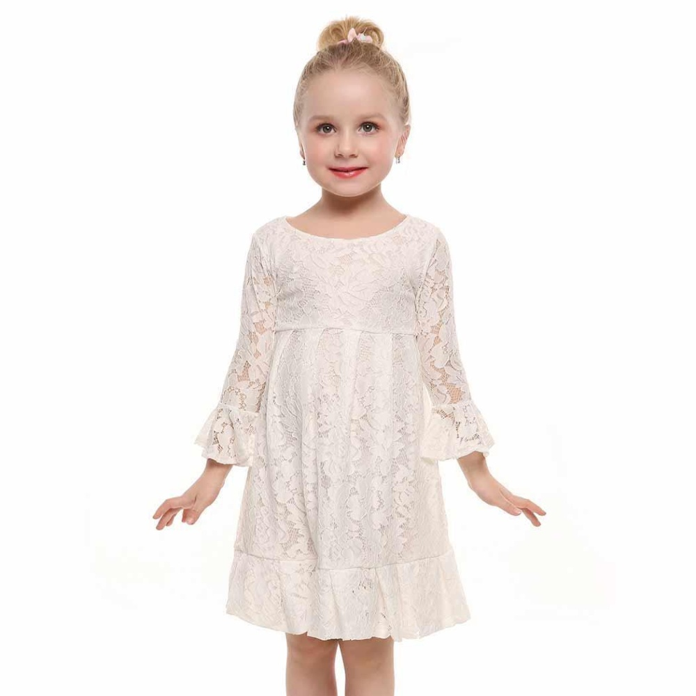 Sunweb Baru Anak Gadis O-Leher Lengan Panjang Pullover Floral Pleated Lace Dress (Putih)-Intl