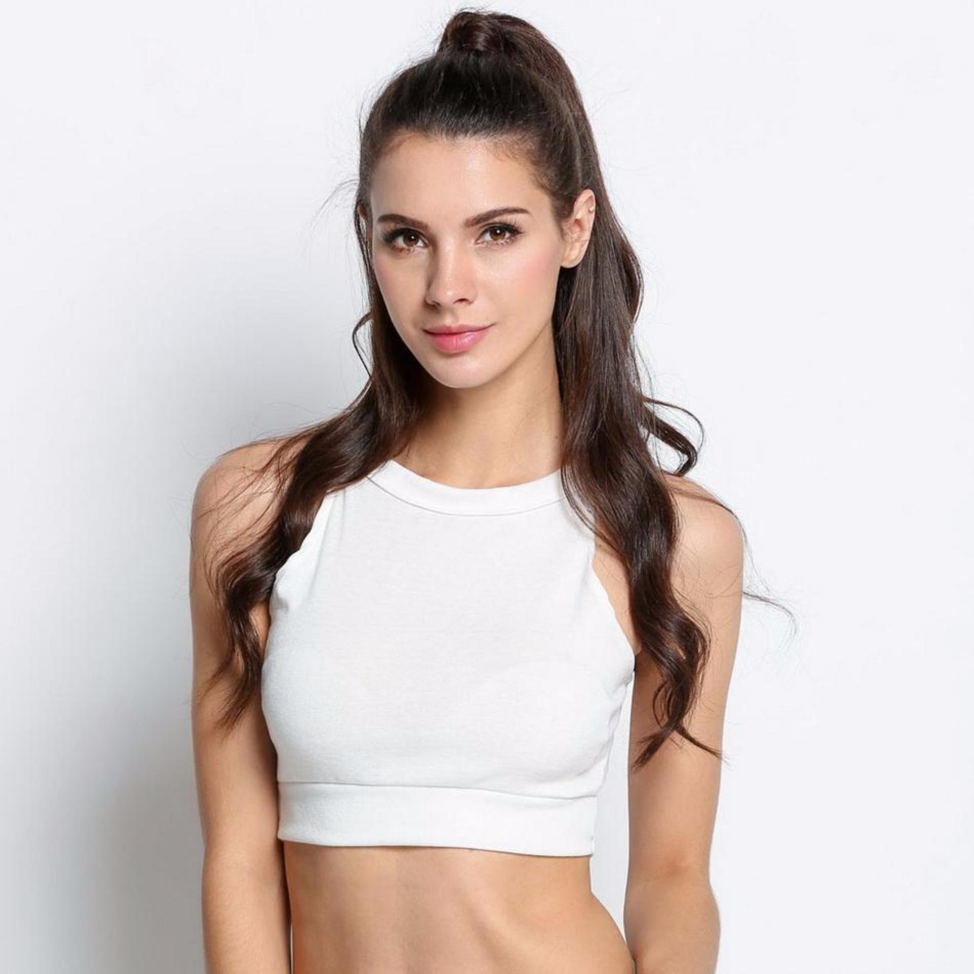 ... Sunweb Women's Fashion Sleeveless O-Neck Sexy Slim Casual Sports Vest Tank Crop Top White ...