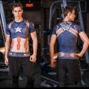 Superman legging pakaian laki-laki kebugaran pakaian Workout (Captain America 2)