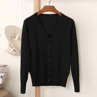 Sweater Kardigan Rajutan Wanita Lengan Panjang Leher V Longgar (Hitam)