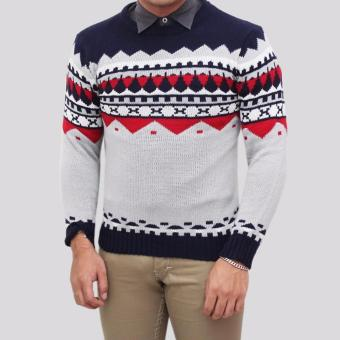 Sweater Pria Rajut - Naza Grey Tribal - Rajut Tribal