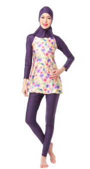 Swimwear Perempuan Islamic hijab modesty sederhana swimsuit (Purple)