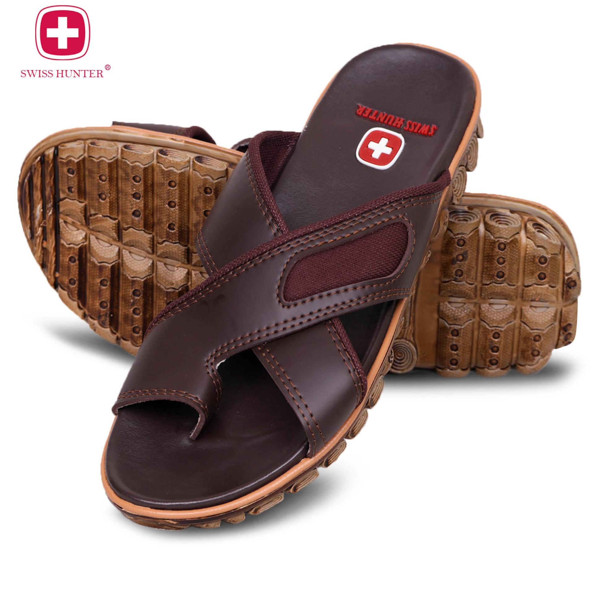 Swiss hunter tactical sandal pria - Dark Brown