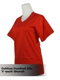 ... T shirt Kaos Polos V neck Merah