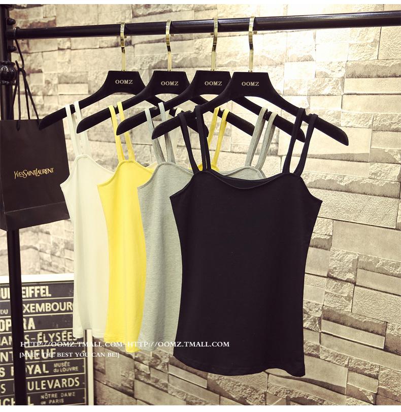 Flash Sale Tali bahu yard besar Slim wanita halter top bottoming sling Vest (Hitam 239 pasang sabuk)