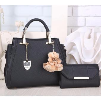 Tas Branded Wanita - Korean High Style With Wallet Eksklusif - Hitam