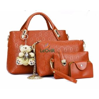 Tas Branded Wanita - Top-Handle Bags - PU Leather - Brown - 34053(4IN1)
