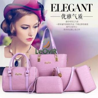 Tas Branded Wanita - Top-Handle Bags - Wrislets - PU Leather - Purple - 83990(5IN1)