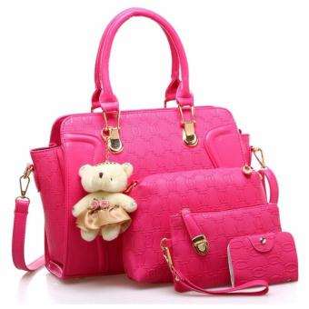 Tas Branded Wanita - Wristlets Bags - Top Handle Bags - Sling Bags - PU Leather - Rose - 83829(4IN1)