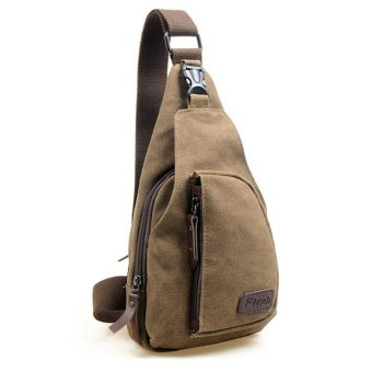 Tas Kanvas Slempang Canvas Mens Satchel Shoulder Bag Chest Pack Crossbody Sports Bag Brown Coffee
