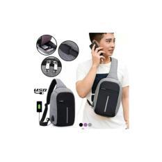 Tas Pria Import Slempang Selempang Sling Bag Anti Maling USB CHARGER