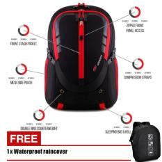 Tas Ransel Outdoor Size 40L 7752 With Most Completed Spec Outdoor Backpack - Black Red + Raincover