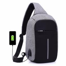Tas Slempang Anti Maling Chest Bag Crossbody Anti Theft USB Waterproof - Abu