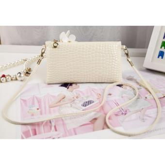 Tas Wanita Small Crocodile 02 PU Leather Womens Fasthion Bag - CREAM