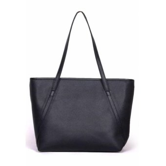 Tas Wanita Women Fashion PU Tote Leather Handbags Shoulder Bags - Hitam
