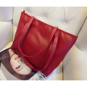 TAS WANITA WOMEN FASHION PU TOTE LEATHER HANDBAGS SHOULDER BAGS - MERAH