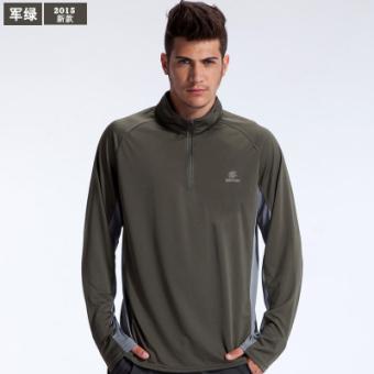Harga TECTOP luar ruangan untuk pria dan wanita lengan panjang cepat kering  t-shirt cepat kering pakaian (5073-hijau gelap (laki-laki)) 9453a906b9