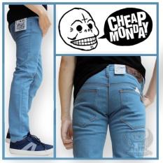 TERMURAH! Celana Jeans pria skinny Cheap Monday Bioblitz - Denim Pria biru muda - Celana Jeans pria - Jeans panjang - Celana jeans cowok - skinny - Slim Fit