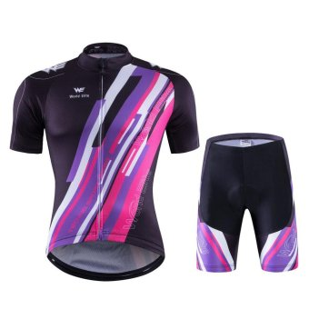 The Jersey Short Set 2017 New Summer Short Suit Love-CoupleBicycle(Purple)#6004 - intl