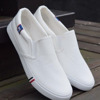 Harga The lazy man shoes white canvas shoes