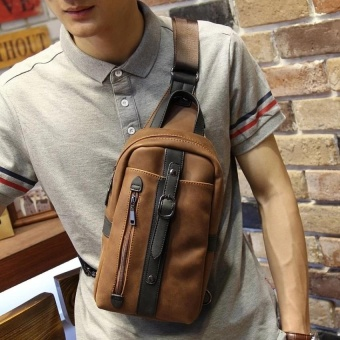 The new trend of Korean leisure chest pack Crazy Horse male package man SATCHEL BAG BAG chest tide - intl - 2