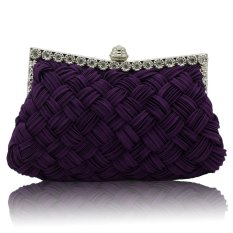 Tiara Studded Pernikahan Evening Bridal Bridesmaid Clutch Purse Dalam Ungu