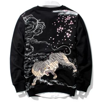 Tide merek Jepang bordir musim gugur baru pria sweater lengan panjang jaket (Hitam)