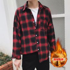 Tide merek Korea Fashion Style ditambah beludru pria lengan panjang tebal kemeja hangat baju kemeja (