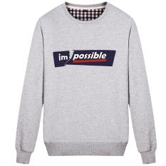 Tide merek pria leher bulat pullover musim gugur sweater (Fraktur abu-abu)
