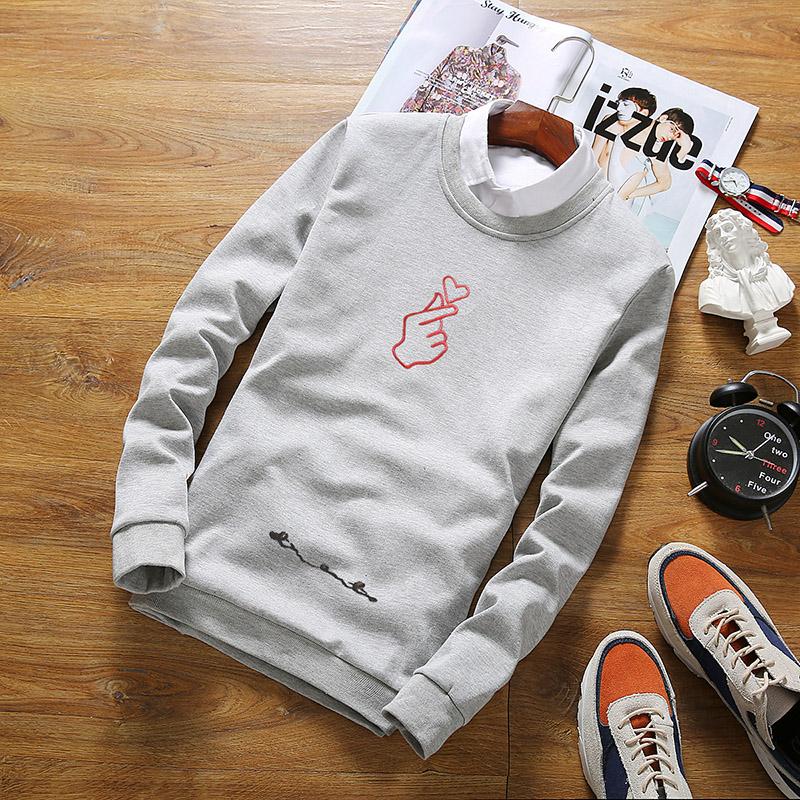 Flash Sale Tide merek pria leher bulat pullover remaja Slim lengan panjang kemeja Jepang sweater (