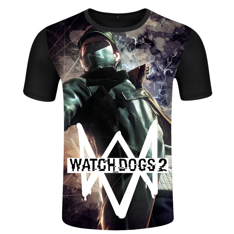 Flash Sale Tide merek Watchdog permainan Zhou Bian lengan pendek t shirt Hitam .