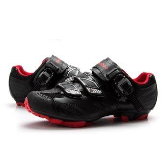 harga Tiebao MTB Sepatu Gunung Bersepeda Untuk Shimano SPD Sepatu Sepeda Sistem Merah Hitam Lazada.co.id