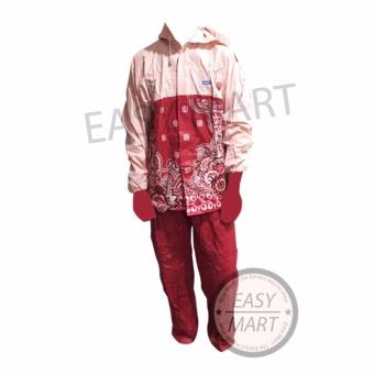 Tiger Head Raincity Jas Hujan Batik Sekar - Merah