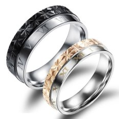 Titanium Cincin Couple - Abstract Romawi Ring - Black-Gold