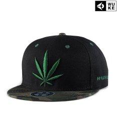 Topi Bisbol Hip hop topi pinggiran Flat Bordir daun Rami Reggae Topi Baru Fesyen Pria Kemenangan (Hitam) - intl