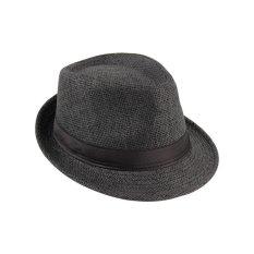 Topi Fedora Unisex Topi Trilby Gaya Panama Topi Jerami TopiMatahari Wisata Packable Hitam