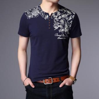 Tren Laki-laki V-neck Bagian Tipis Kemeja Kecil T-shirt (1802