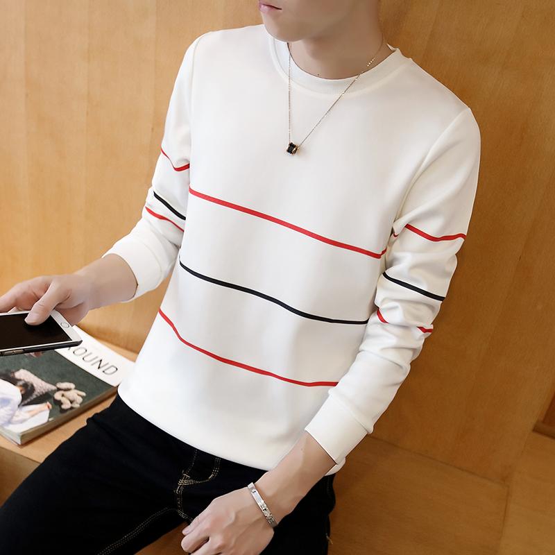 Flash Sale Tren Tambah Beludru Leher Bulat Slim Pakaian Pria Kaos Sweater T shirt Tiga bar