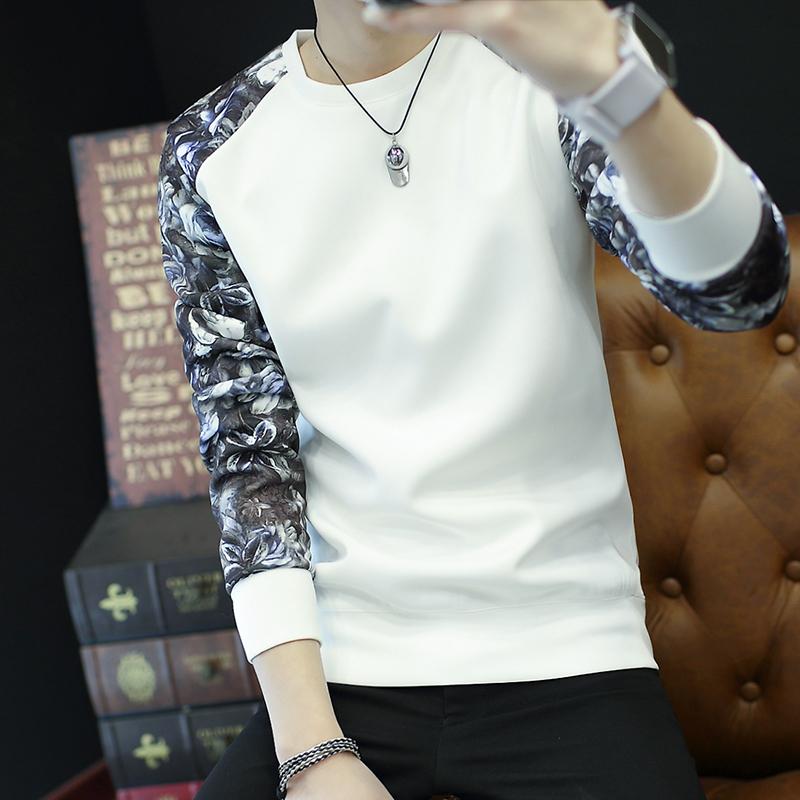 Flash Sale Tren Tambah Beludru Leher Bulat Slim Pakaian Pria Kaos Sweater T- shirt (