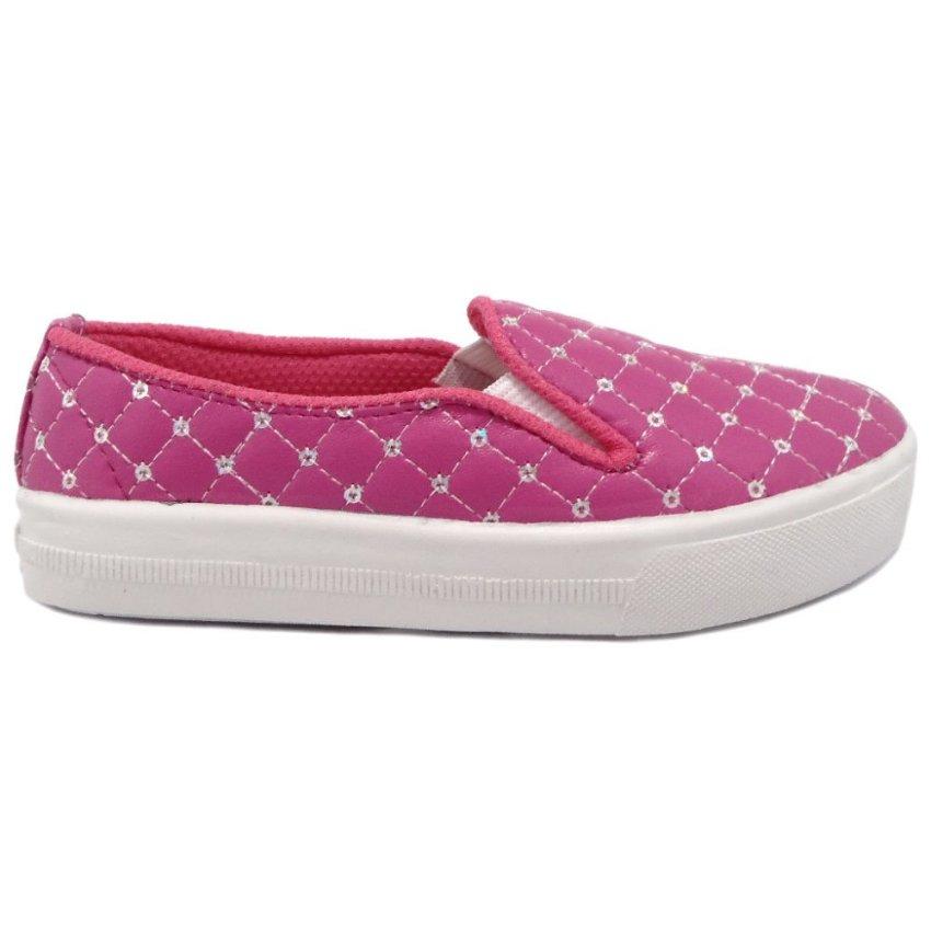TrendiShoes Sepatu Anak Slip On Dengan Payet Cantik Fuchsia .