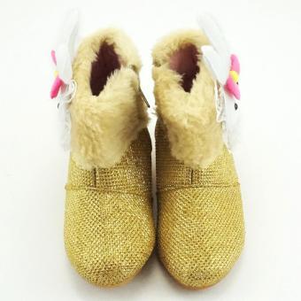 thumbs TrendiShoes Sepatu Boot Anak Perempuan Bahan Glitter Boneka Bulu - Gold .