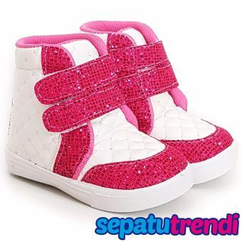 TrendiShoes Sepatu Boot Anak Perempuan Velcro 2 VELCE - Putih Fuchsia